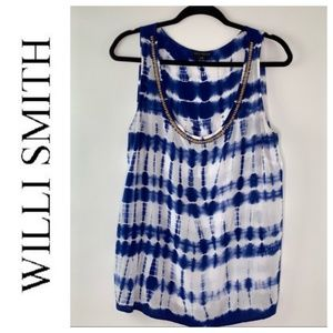 Willi Smith Tie Dyed Beaded Oversized Tank Large